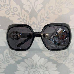 GUCCI Black Square Frame Sunglasses w/ Side Logo Detail